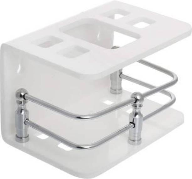 The Empire Acrylic Toothbrush Toothpaste Holders Stand   Toothbrush Slots Organizer Rack   Wall Mounted Toothbrush Toothpaste Stand Holder   Tumbler for Bathroom Acrylic Toothbrush Holder (White, Wall Mount) Acrylic Toothbrush Holder