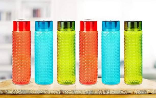 KINGSMAN MANS WEAR 6 Pieces Checkered Pattern Plastic Water bottle multi colored 1000 ml Bottle