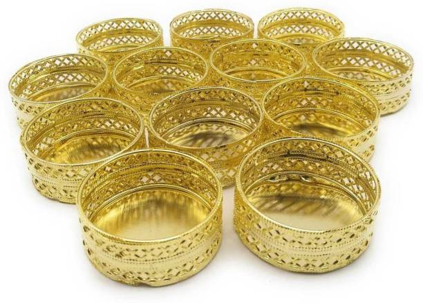 Satyam Kraft golden tealight candle holder (Pack of 12) Gold Plated Candle Holder Set