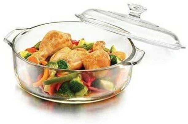 Betlex Glass Casserole Deep Round Serving Bowl with Glass Lid - Oven and Microwave Safe 1000 ml ( Pcs of 1) Cook and Serve Casserole Set