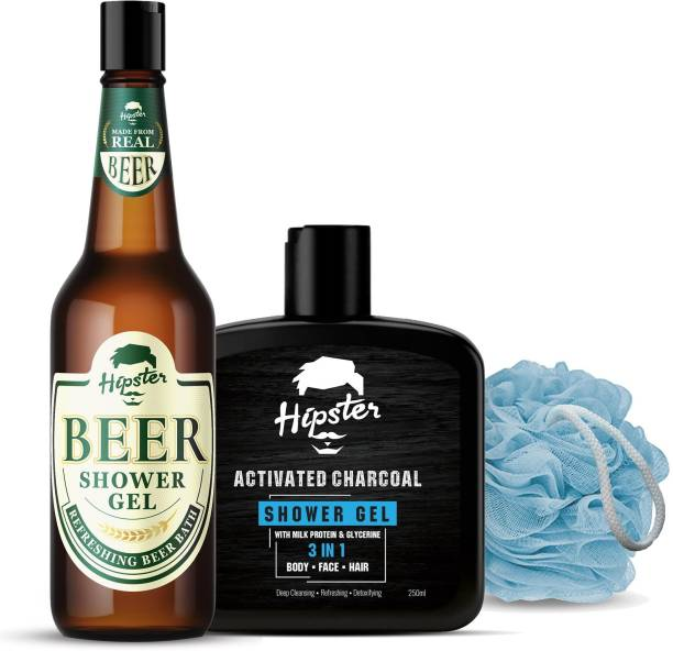 HIPSTER Beer Shower Gel 250ml And Charcoal Shower Gel 250ml   Loofah   Bath Care Body Wash Combo   Mens Grooming Combo
