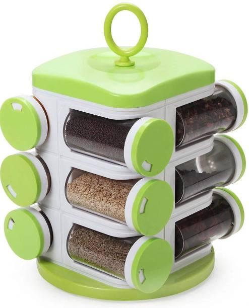 Neemco 12-Jar Cute Revolving Spice Masala Box Rack, Green 12 Piece Spice Set (Plastic) 12 Piece Spice Set