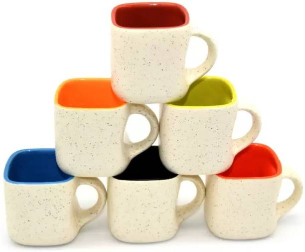 B2R Pack of 6 Ceramic, Bone China Pack of 6 Ceramic, Bone China White Matte Dotted Multi Color Tea Cup with Handle (Medium Size) Set of 6 (White) (Multicolor, White)