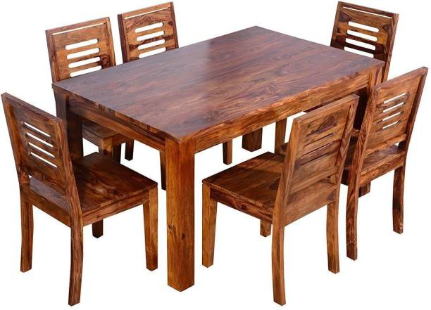 Credenza Sheesham Wood Wooden Dining Table 6 Seater | 6 Chairs and Dining Table | Home Dining Room Furniture Set | Dining Table with Chairs for Living Room | Teak Finish | Rectangle Solid Wood 6 Seater Dining Set