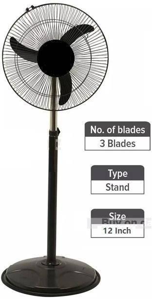 olles High Speed 2400 RPM (12 Inches) 300 mm Bullet Fan/Pedestal Fan/Farrata Fan with Adjustable Height 300 mm 3 Blade Pedestal Fan