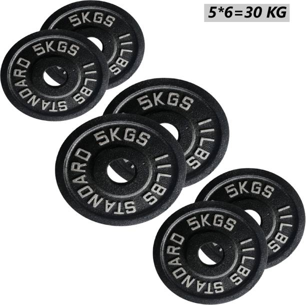 Fitness Guru Olympic Cast Iron Weight Plates 2 inch Disc (5*6=30kg) Black Weight Plate
