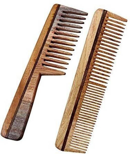Royaltyroute Professional Hair Comb, Set of 2 - Handmade Wooden Neem - Anti Dandruff, Non-Static and Eco-friendly