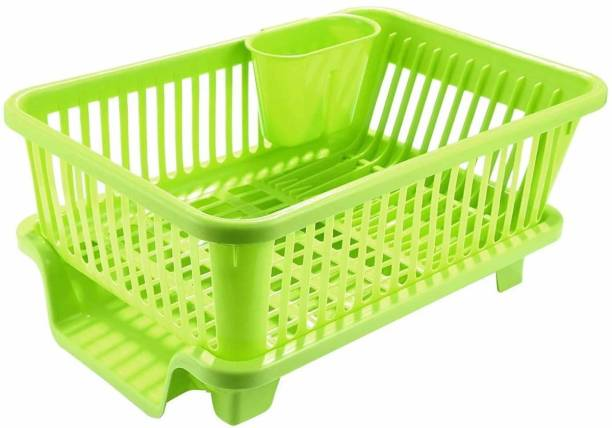 Solomon ™ Premium Quality 3 in 1 Large Durable Plastic Kitchen Sink Dish Rack Drainer Drying Rack Washing Basket with Tray for Kitchen, Dish Rack Organizers, Utensils Tools Cutlery Multifunctional Basket Dish Drainer Kitchen Rack