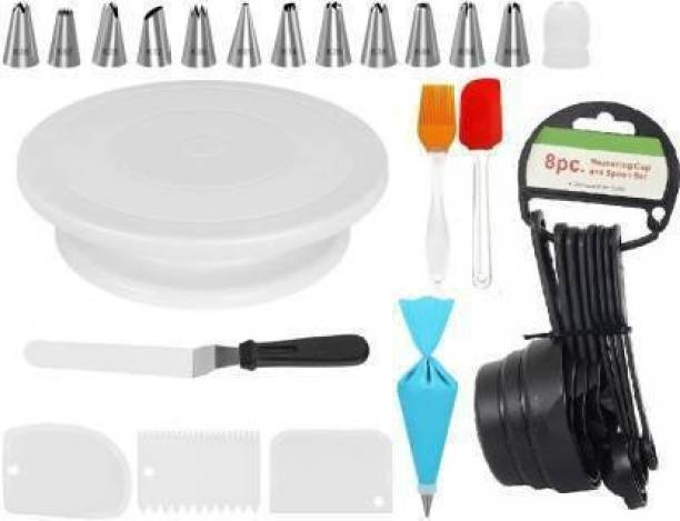 GL house combo_261 Combo of Cake Making Turn Table , 12 Steel Nozzles Coupler with Piece Frosting Piping Bag, 3-in-1 Multi-Function Stainless Steel Cake Icing Spatula Knife Set and 3 Pieces of Dough Scrapper Multicolor Kitchen Tool Set