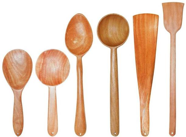 Tora Creations Neem Wood Spatulas For Cooking & Serving Wooden Ladle (Stir, Dosa, Rice, Deep Serve Pack 6) Brown Kitchen Tool Set