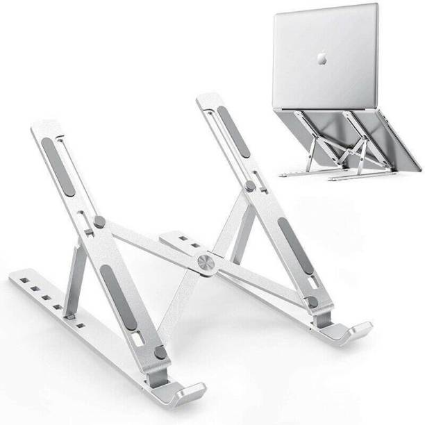 "ASTOUND Adjustable Aluminum Laptop Table Stand Tablet Foldable Desktop Cooling Holder Laptop Stand, 6 Levels of Height Adjustable Portable Laptop Holder for Desk, Aluminum Foldable Laptop Riser, Compatible with MacBook Air/Pro, Dell, HP, Lenovo, Most 10-15.6"" Laptops Laptop Stand"