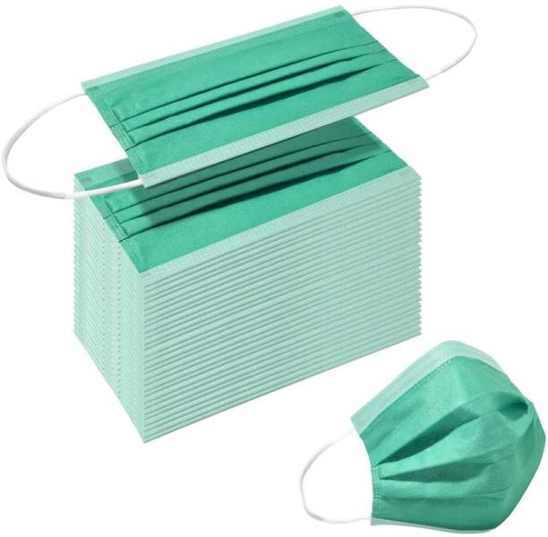 3W 3 Ply Face Masks Export Quality Non Woven Fabric Mask With 3 Layer Protection and Comfortable Nose Clip (M Green) Surgical Mask