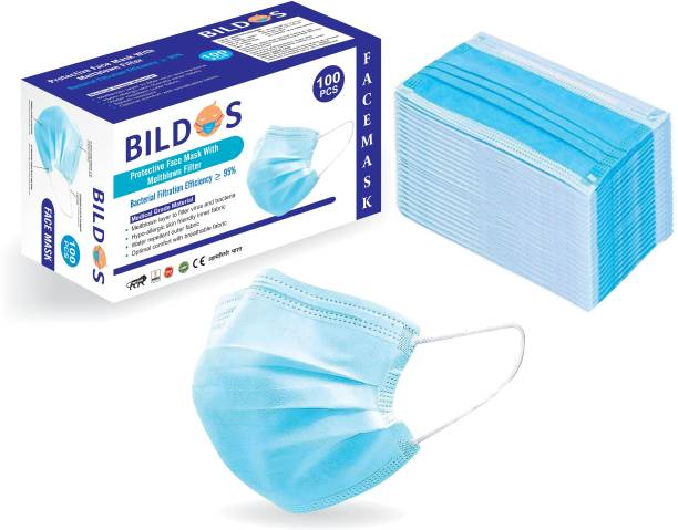 BILDOS 3 Layer Melt-blown mask with Nose pin and Super Spandex Elastic pharmaceutical mask Surgical Mask With Melt Blown Fabric Layer