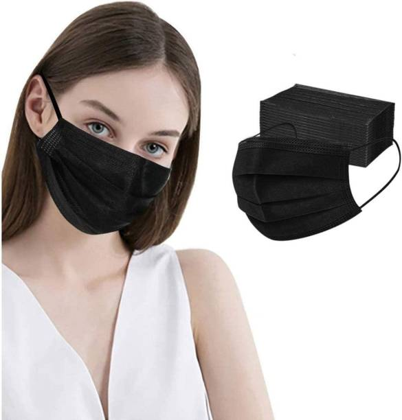 3W 3W-Black-25 Disposable Face Masks (Pack of 25) Export Quality Non Woven Fabric Mask With 3 Layer Protection and Comfortable Nose Clip (Black) Surgical Mask