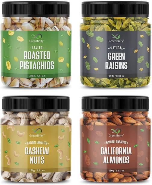 GreenFinity Dry Fruits Combo Pack - (250g * 4) 1kg (Almonds, Cashews, Pistachios, Raisins) - All Premium. Almonds, Cashews, Pistachios, Raisins