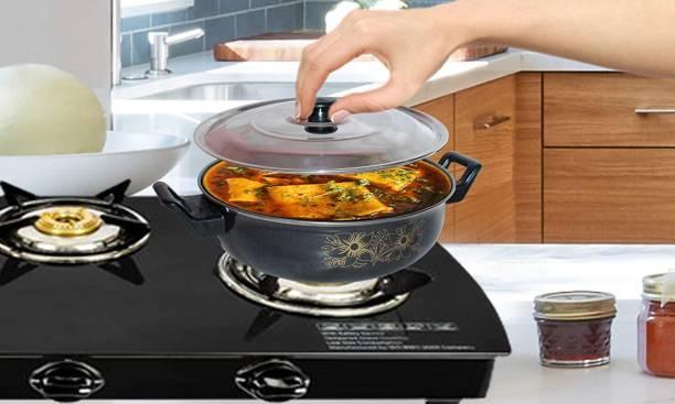 RC Lifter Aluminium Kitchen Cooking Non Stick Kadhai Extra miduim kadhai 3.5 Liter Colour Black Kadhai 20 cm with Lid