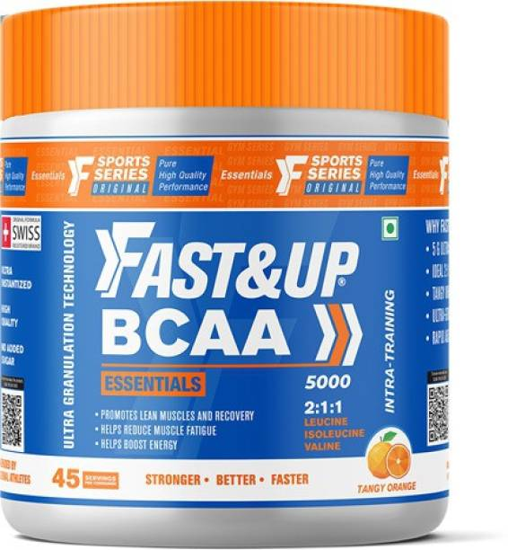 Fast&Up BCAA Essentials (Orange flavour), Pre/Post & Intra Workout Supplement- 45 Servings BCAA