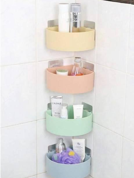 Flipkart SmartBuy Multipurpose Kitchen Bathroom Living Room Corner Shelf Rack with Strong Adhesive Stickers for Dish-wash Liquid, Brush, Cloth, Soap, Sponge, Hair Oil, Shampoo (No drilling required) (COMBO PACK OF 4) Plastic Wall Shelf