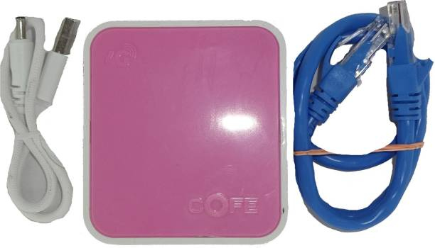 COFE Universal CF-12W-MINI-PK 4G SIM Based Wifi Router with LAN port || Portable Unlocked 4G Wifi Hotspot Supports All 4G GSM SIM Cards (Airtel, Vodafone, Jio, Idea) for All DVR, NVR, CCTVs, IP Cameras, Bio Metric Devices No Configuration Required 300 Mbps 4G Router