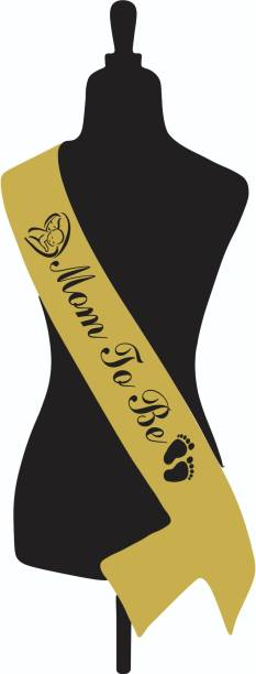 GARNET MOM TO BE SASH - GOLDEN (BLACK)