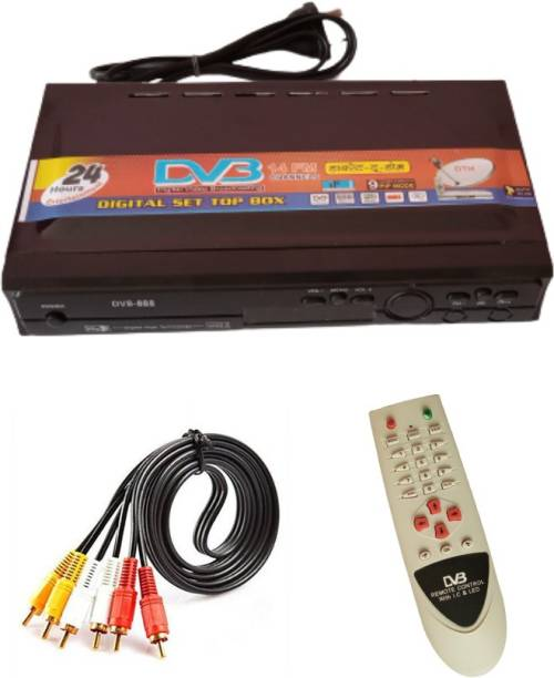 KL-TECH Dth direct to home DD Free Dish Set Top Box Receiver Free to Air for (DTH-MPEG2) with Big REMOT & AV Lead (BLACK) Media Streaming Device
