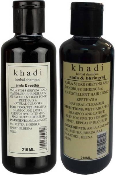 Khadi Herbal Combo: Amla Reetha & Amla Bhringraj Shampoo (Pack of 2) 420 ML