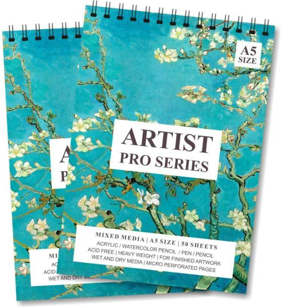 LADECOR Artist Sketch Book 100 Pages (50 Sheets) Perforated 140 GSM Craft Book (A5 Size Pack of 2) for drawing kids school college boy girl Sketch Pad