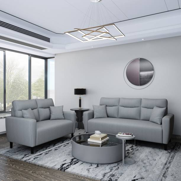Flipkart Perfect Homes Julia Fabric 3 + 2 Grey Sofa Set