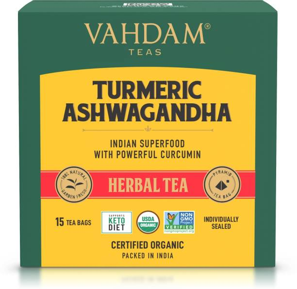 Vahdam Turmeric Ashwagandha Immunity Support Turmeric Herbal Tea Bags Box