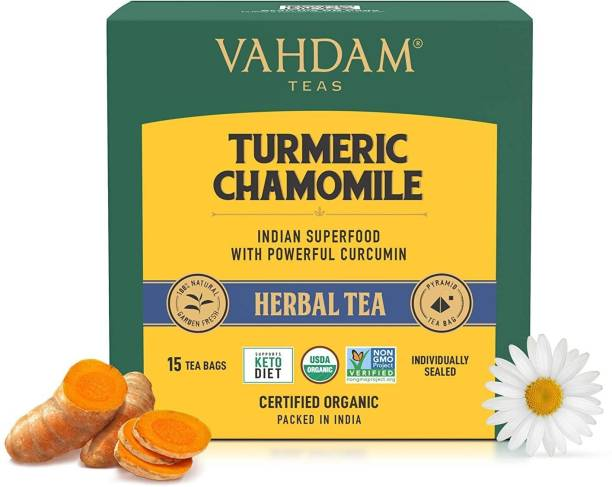 Vahdam Turmeric Chamomile   Promotes Calm & Improves Sleep Turmeric, Chamomile Herbal Tea Bags Box