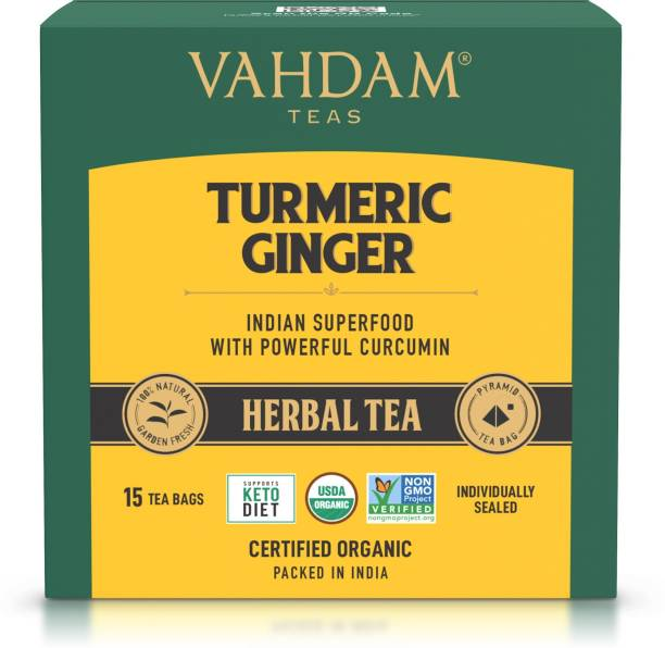 Vahdam Organic Turmeric Ginger Turmeric, Ginger Herbal Tea Bags Box