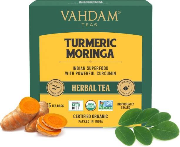 Vahdam Organic Turmeric Moringa Turmeric Herbal Infusion Bags Box