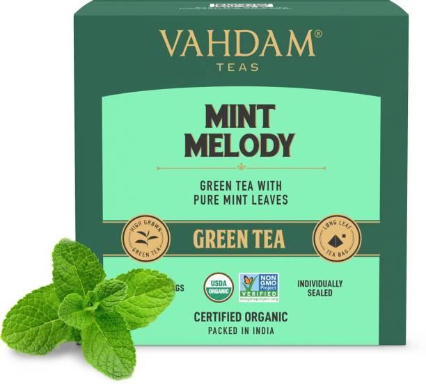 Vahdam Mint Green Tea, (15 Tea Bags) | Mint LONG LEAF Green Tea Bags Mint Green Tea Bags Box