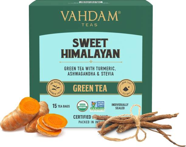 Vahdam Organic Sweet Himalayan Green Tea Bags Box