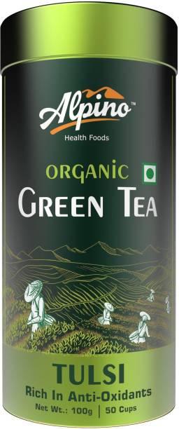 Alpino Certified Organic Tulsi Green Tea 100 G (Rich in Anti-Oxidents / Detox Green Tea) Tulsi Green Tea Tin