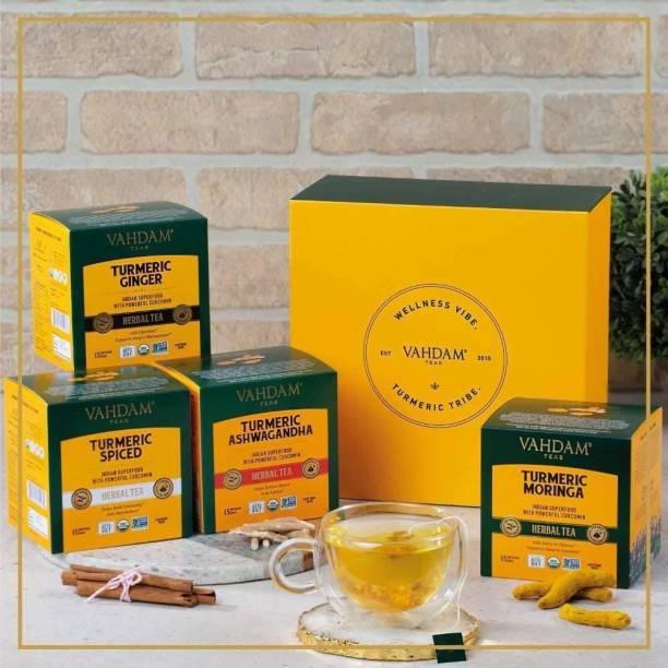 Vahdam Turmeric Based Tea Immunity Pack - Set of 4 Teas - Ginger, Ashwagandha, Moringa and Classic Turmeric Herbal Tea Bags Box