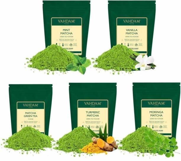 Vahdam Japanese Matcha Green Tea Trial Pack of 5 Different teas Turmeric, Vanilla, Mint Matcha Tea Vacuum Pack