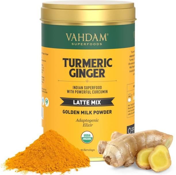 Vahdam Organic Turmeric Ginger Latte Immunity support Golden Milk Powder Turmeric, Ginger Herbal Infusion Tin