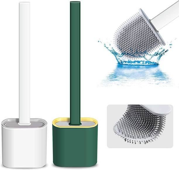 OXPER Pack Of 2 Silicon Toilet Brush with Slim Holder Flex Toilet Brush Anti-drip Set Toilet Bowl Cleaner Brush, No-Slip Long Handle Soft Silicone Bristle Clean Toilet Corner Easily, Wall Mounting with Holder