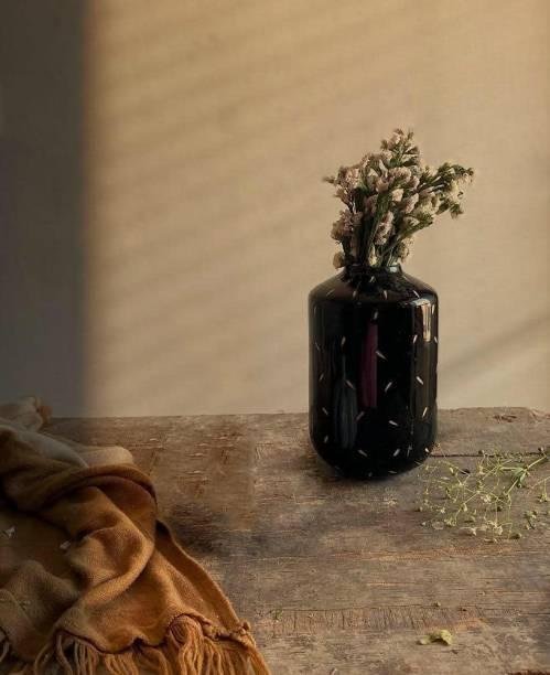 Craftribal Classic Black Flower Vase, (2 X 9 Inch, Black) Ceramic Vase