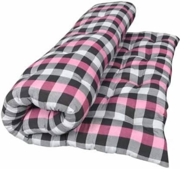 Panwar Enterprises Soft Cotton Multicolour Mattress / Gadda Double Bed Pink 4 inch Double Cotton Mattress