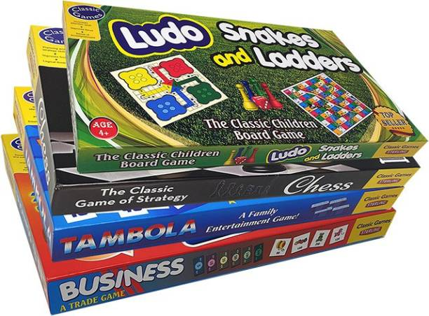 STERLING Ludo, Chess, Busines & Tambola (4 in 1 Classic Game Gift Set) Strategy & War Games Board Game