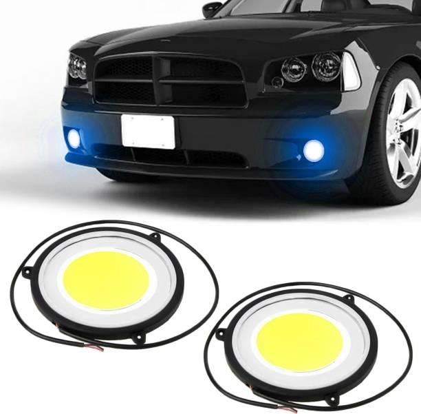 FABTEC Car DRL Daytime Running Light with Turn Indicator Signal Flexible Round Shape White LED Lights Driving lamp COB Lights car-Styling 2pcs 12V DC For All Cars Car Fancy Lights (White, Blue Car Fancy Lights