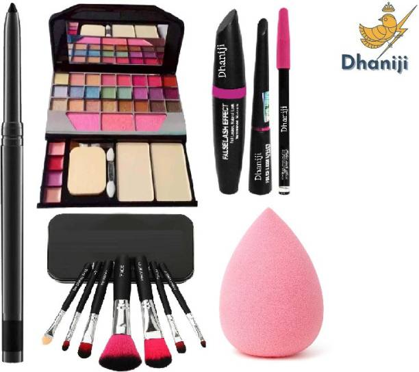 Dhaniji waterProof Essential Makeup HD11 Beauty Kajal & Set of 7 Makeup Brush & Powdered Blender Sponge Puff & TYA 6155 Makeup Kit & 3in1 Eyeliner , Mascara , Eyebrow Pencil (13 Items in the set)