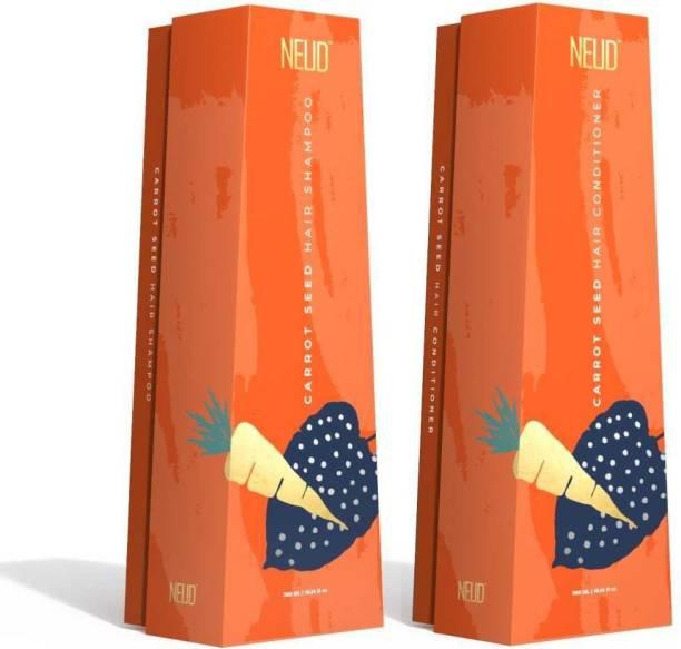 NEUD Carrot Seed Premium Shampoo & Hair Conditioner Combo for Men & Women (300ml Each)