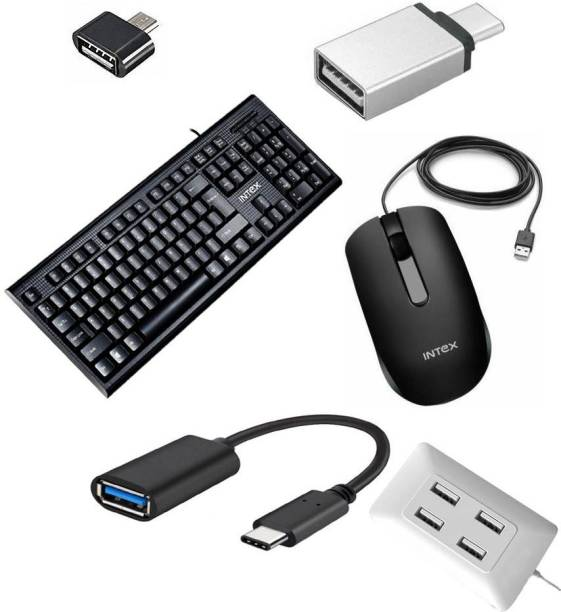Intex Full-Sized Keyboard , Hotkeys and function for Desktop/Laptop/Smart TV Spill-Resistant Wired USB Keyboard with 10 million keystrokes lifespan ) Wired Optical Gaming Mouse (USB 2.0, Black) (Black) ( Type-C OTG Adapter Cable Connector Cord pendrive Compatible with All C Type Supported Mobile Smartphone QHMPL6660 4 Port USB Hub with Switch and LED Indicator USB Adapter (White) ) QHMPL6660 4 Port USB Hub with Switch and LED Indicator USB Adapter (White) USB, USB Type C OTG Adapter USB OTG / OTG Adapter / Micro USB OTG! Combo Set