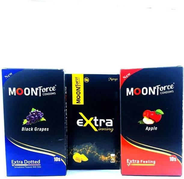 MOONFORCE MOONFORCE_CPNDOMS_APPLE_BLACKGRAPES_MANGO_FLOVERS_DIFFRENT_CONDOMS_30PIECE_COMBO_PACKS Condom
