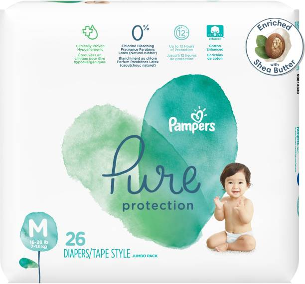 Pampers Pure Protection baby diapers, Hypo allergnenic and unscented protection, 0% chlorine , paraben , latex Medium Size taped diaers, MD 26 Count - M