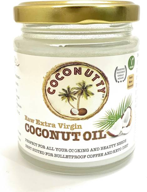 Coconutty Extra Virgin Coconut Oil, 190ml - Cold Pressed, Glass Jar, 100% Natural for Hair, Skin & Cooking (190ml) Coconut Oil Glass Bottle