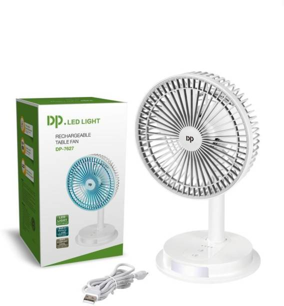 DP.LED 7627 RECHARGEABLE TABLE FAN MULTI-FUNCTION DUAL-MODE POWER SUPPLY FAN THREE-STAGE SPEED REGULATION BUILT-IN BATTERY, TWO POWER SUPPLY MODES ARE OPTIONAL THE LIGHTING USES HIGH-BRIGHTNESS LAMP BEADS BATTERY CAPACITY: 4000MAH 88 mm Ultra High Speed 3 Blade Table Fan